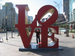 Jon at Love Statue Number 2 - eat your heart out Philly, Outside Taipei 101, Taipei